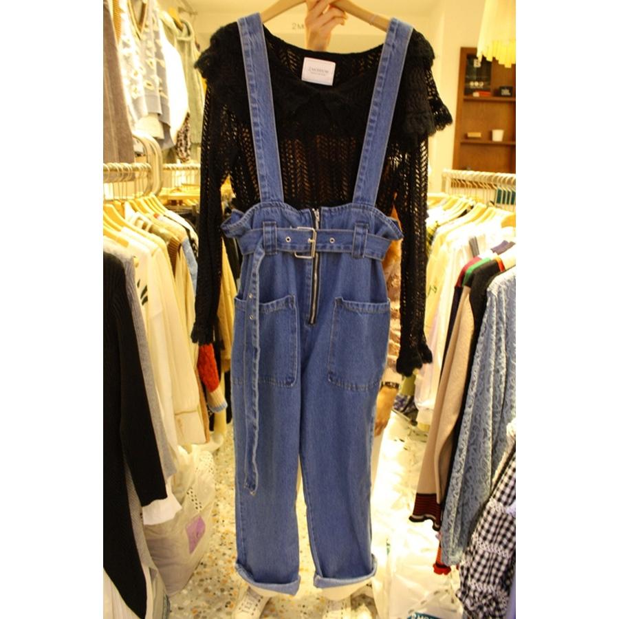 2MORROW 韩国代购女装拉链牛仔时尚背带裤不含其它S/M码