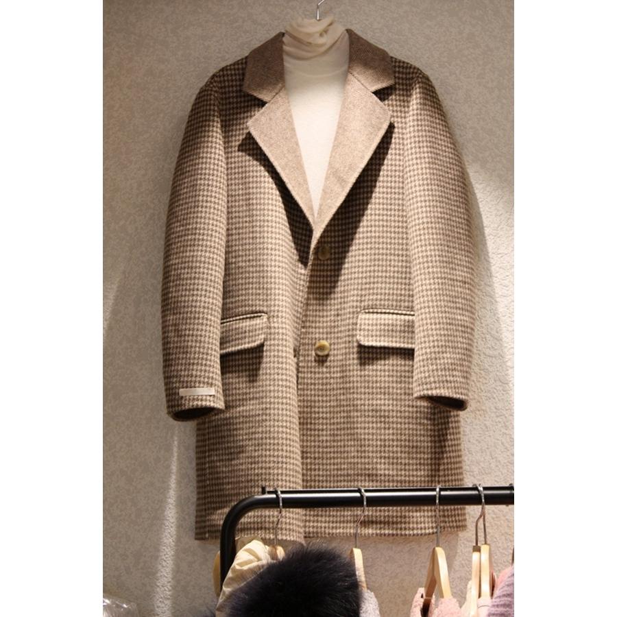 韩国东大门正品代购新款女装2018秋冬装女士系扣千鸟格长袖大衣