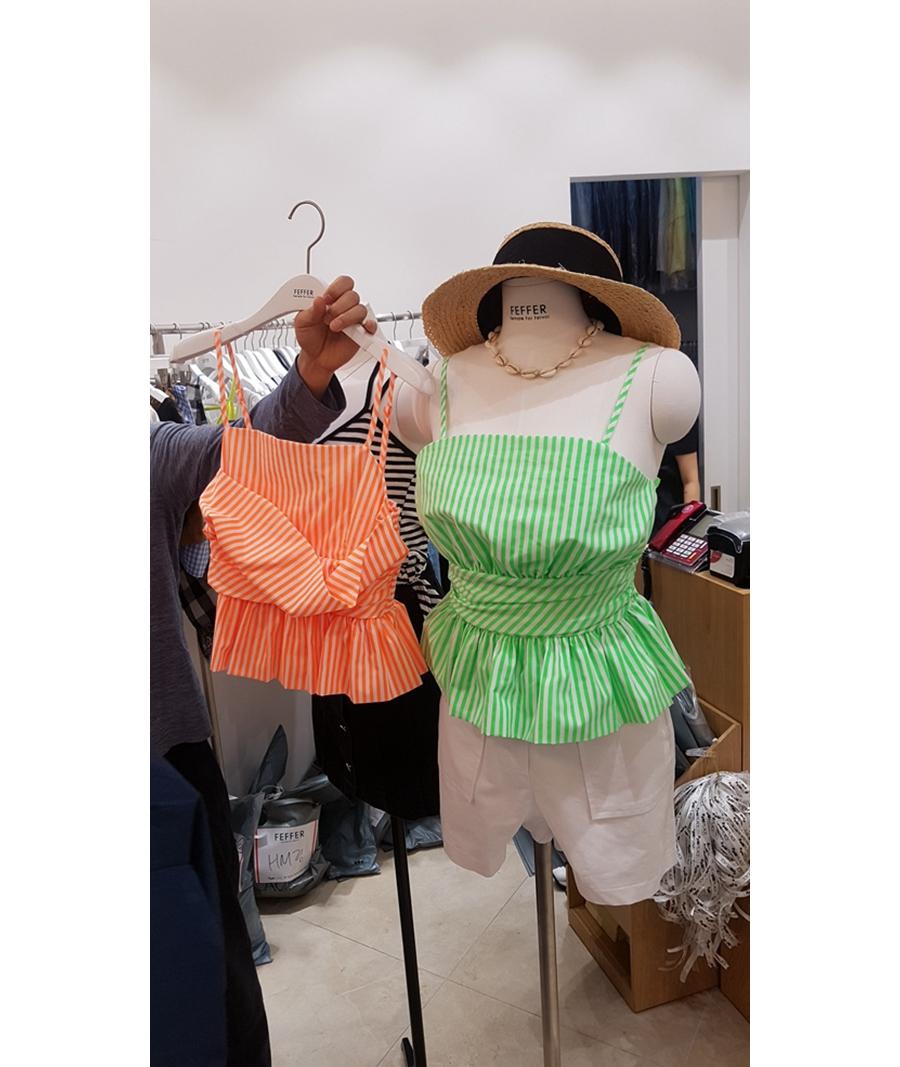 韩国东大门代购FEFFER 女士吊带无袖条纹时尚背心左/右色均码