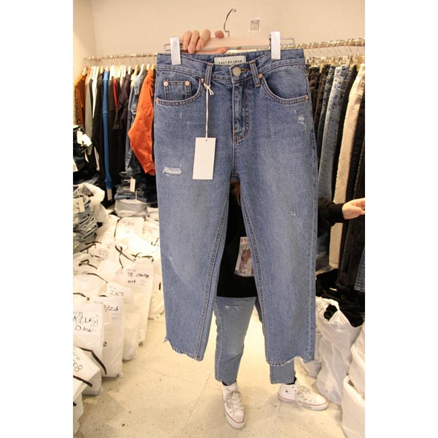 SALT BY 韩国东大门正品女装代购女装塑形系扣插袋气质磨白牛仔裤