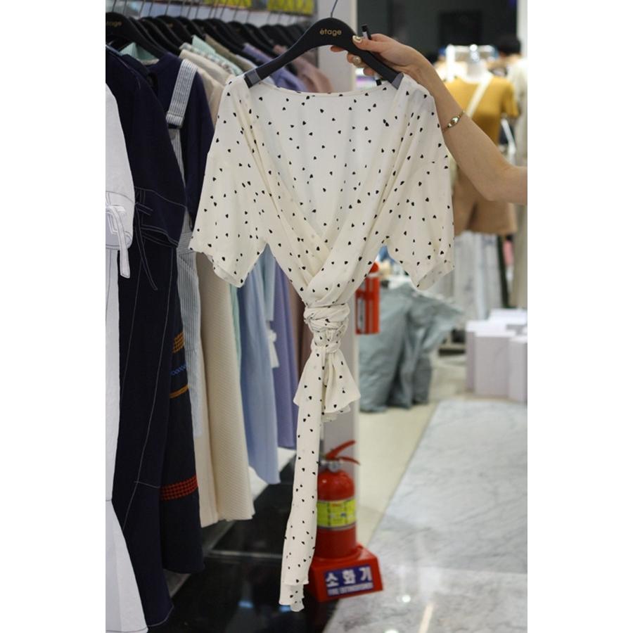 进口韩国东大门正品代购女装2018夏装女士落肩短袖波点衬衫均码