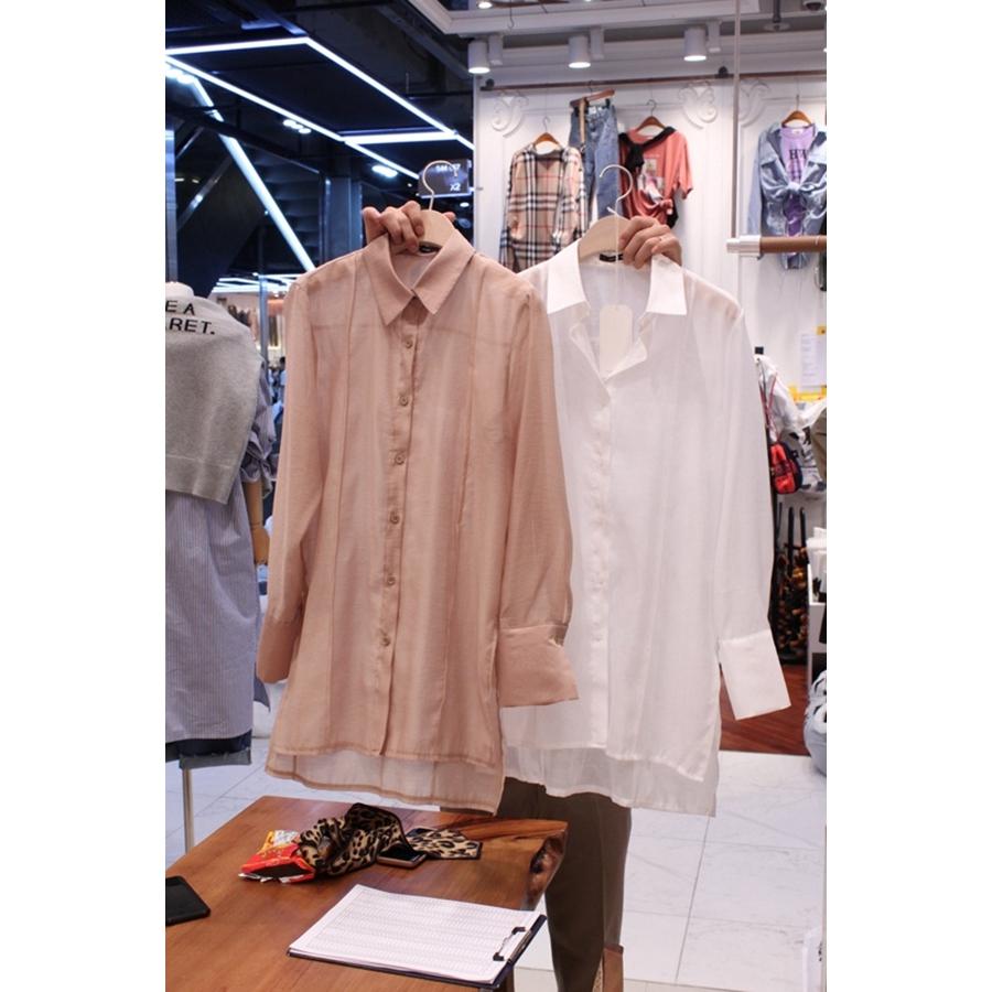 韩国东大门正品代购2018秋冬装女士翻领系扣长袖衬衫左右色均码