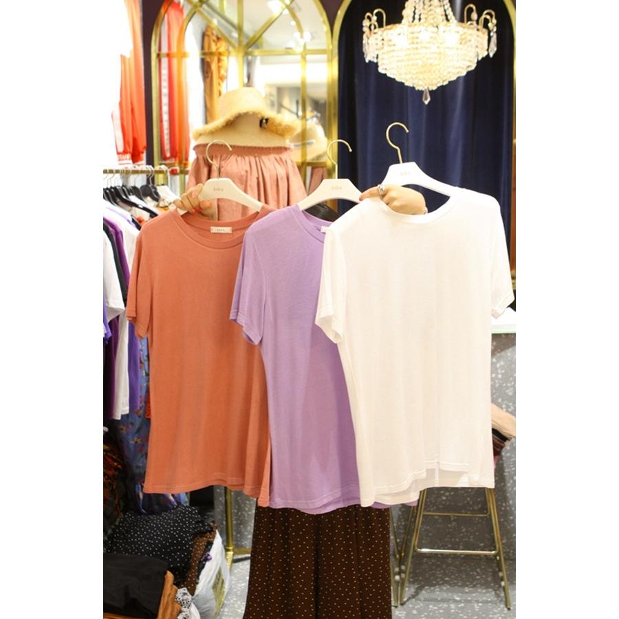 韩国代购女装2018夏装女士时尚短袖圆领净版T恤衫左起色均码