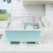 厨房放碗柜塑料带盖沥水碗架碗筷收纳箱放餐具碗筷收纳盒碗盘架子图片