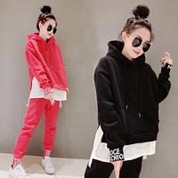 European station autumn and winter thickening plus velvet sweater suit female hip hop two-piece hooded loose sports suit tide card