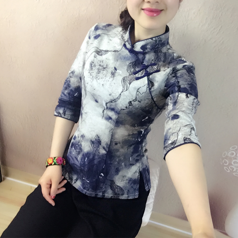 春夏新民国风 复古艺艺Improved short cotton and linen cheongsam top Chinese style