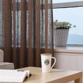 定制加厚白色纱帘纯色简约现代客厅卧室阳台飘窗纱窗帘落地帘成品