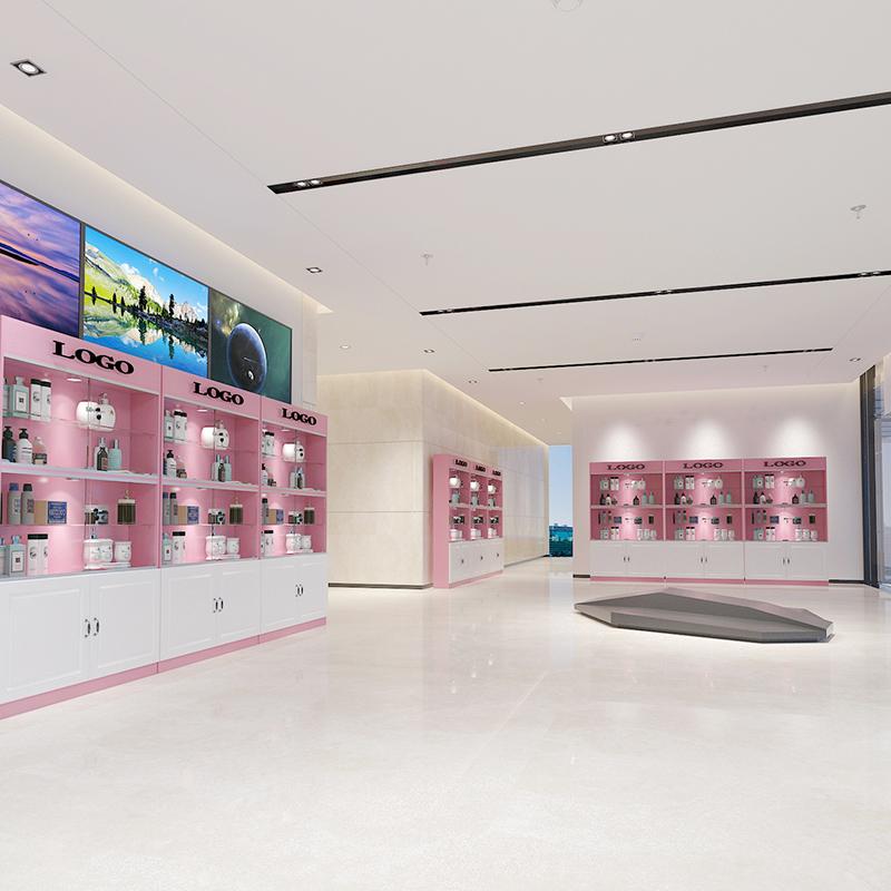 化妆品展示柜钢化玻璃移门超市美甲美容院样品展示柜产品陈列货架
