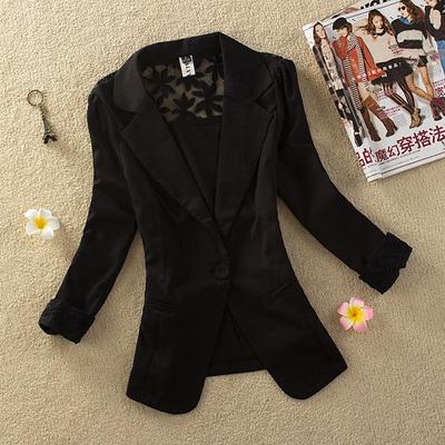 休闲小西装外套春秋短款七分袖雪纺大码修身女士西服薄款夏职业装