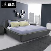 简约主卧成套双人床1.8m带床头柜 013 慕思 婚床布艺床可拆洗图片