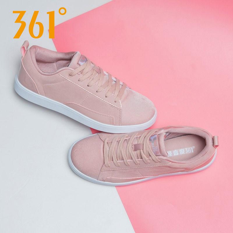 361女鞋板鞋女运动鞋2019秋季新款361度粉色滑板鞋反绒面休闲鞋潮
