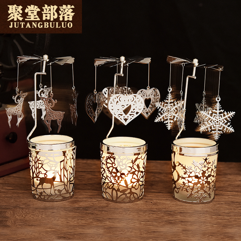 Jutang tribe European style rotating candlestick windmill home decoration cup candlestick men and women