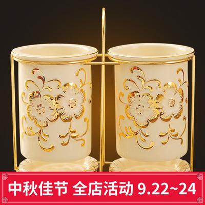 欧式筷筒陶瓷创意双筒筷架防霉沥水家用筷子收纳盒厨房用品筷子筒