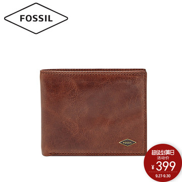 Fossil化石男钱包简约休闲舒适牛皮素色轻便多卡位短款男包ML3729