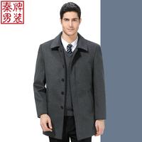 中老年男士毛呢大衣中长款羊毛风衣呢子外套 秋冬大码宽松爸爸装