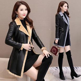 皮衣外套女2018新款韩版冬季时尚修身显瘦皮毛一体加绒加厚PU风衣