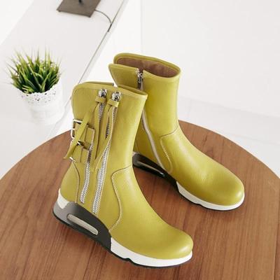真皮马丁靴秋冬新款中跟平底短靴英伦黄色坡跟中筒白色骑士靴