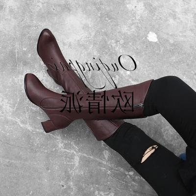 女式长靴粗跟真皮女棉靴冬季新款皮靴保暖过膝靴通勤高跟长筒女靴