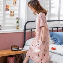 睡裙女夏季纯棉短袖韩版清新可爱甜美连衣裙长款过膝宽松大码睡裙