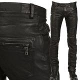 新款黑色皮裤男士修身休闲机车摩托车骑行朋克哈雷摇滚潮牌大码
