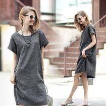 欧美时尚简约300斤棉麻透气宽松纯色短袖连衣裙超大码女装MM-8