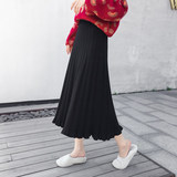 Exclusive customization! Korea autumn and winter pregnant women large size wooden ear long knit skirt A word wool umbrella skirt tide