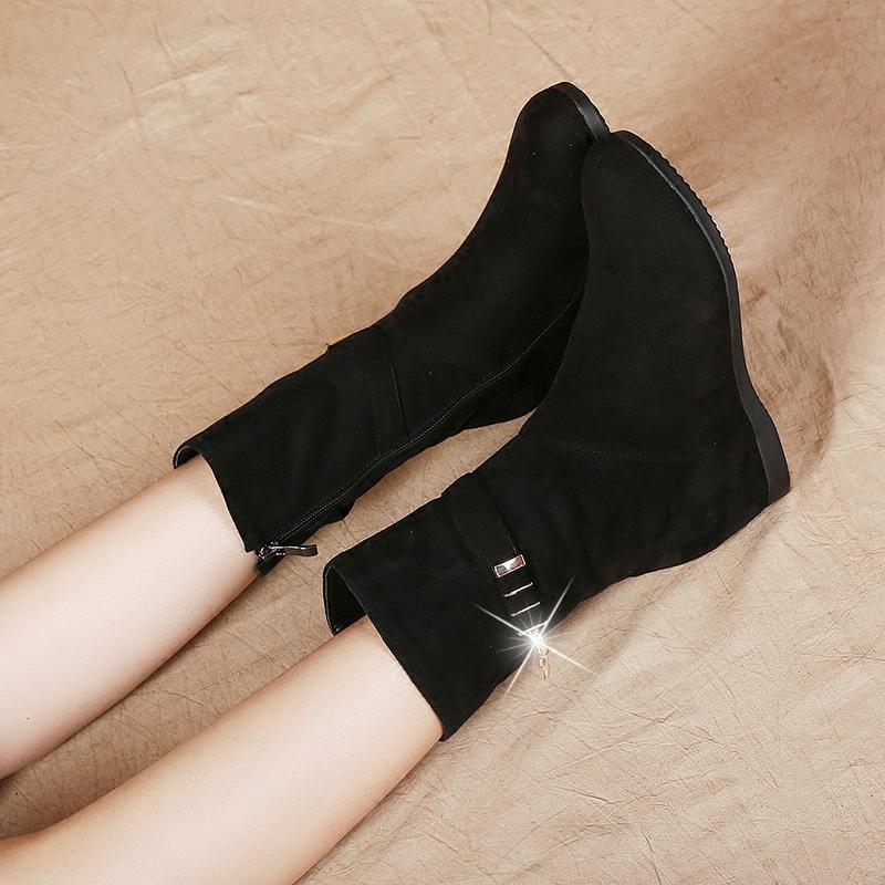 坡跟中筒冬靴