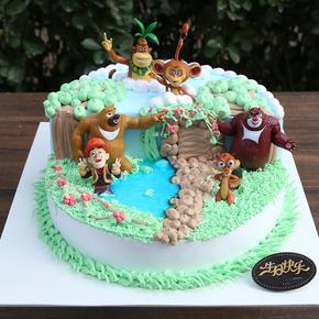 上海 卡通创意儿童生日蛋糕 手绘宝宝百天周岁蛋糕 小熊场景蛋糕