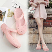 Veblen2018 new hole shoes female baotou flat bottom beach shoes jelly non-slip seaside sandals thick bottom slippers