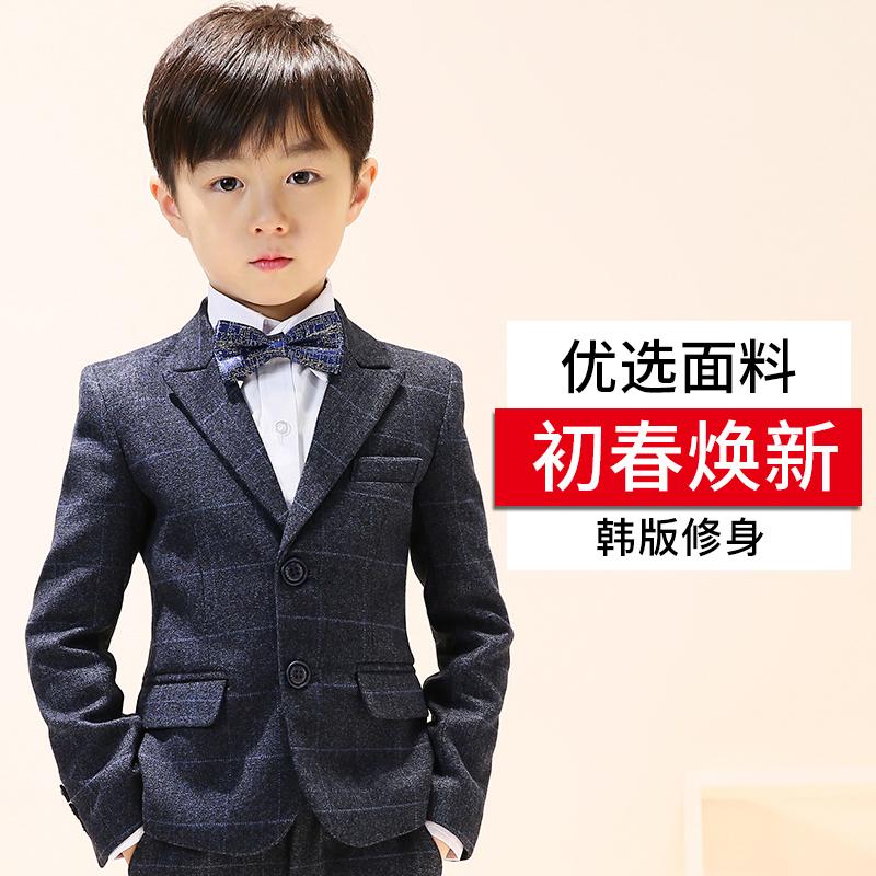 男童西装套装2019新款小花童礼服男小孩外套儿童西服帅气三件套春