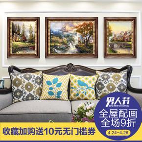 美式客厅装饰画欧式沙发背景墙有框画三联画餐厅玄关壁画卧室挂画