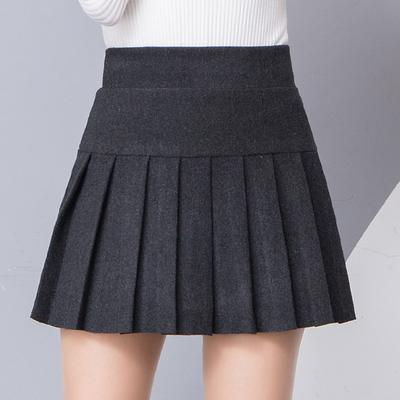 春秋新款呢子百褶裙a字短裙女学生学院风高腰韩版黑色裤裙半身裙