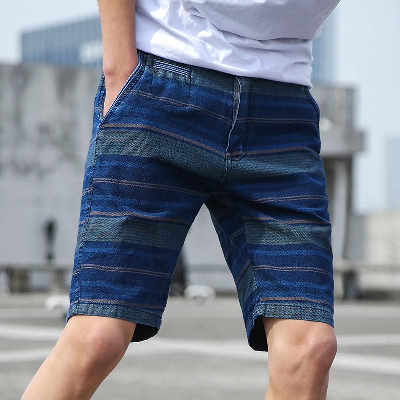 夏装新款修身拼色条纹五分裤拉链休闲短裤男士2018