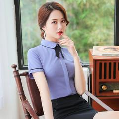 职业衬衫女短袖酒店前台服务员工作服 餐饮ktv收银员接待套装夏季