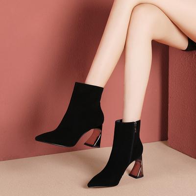 粗跟靴子女2018冬季新款欧美真皮高跟及踝靴尖头短靴气质百搭女靴