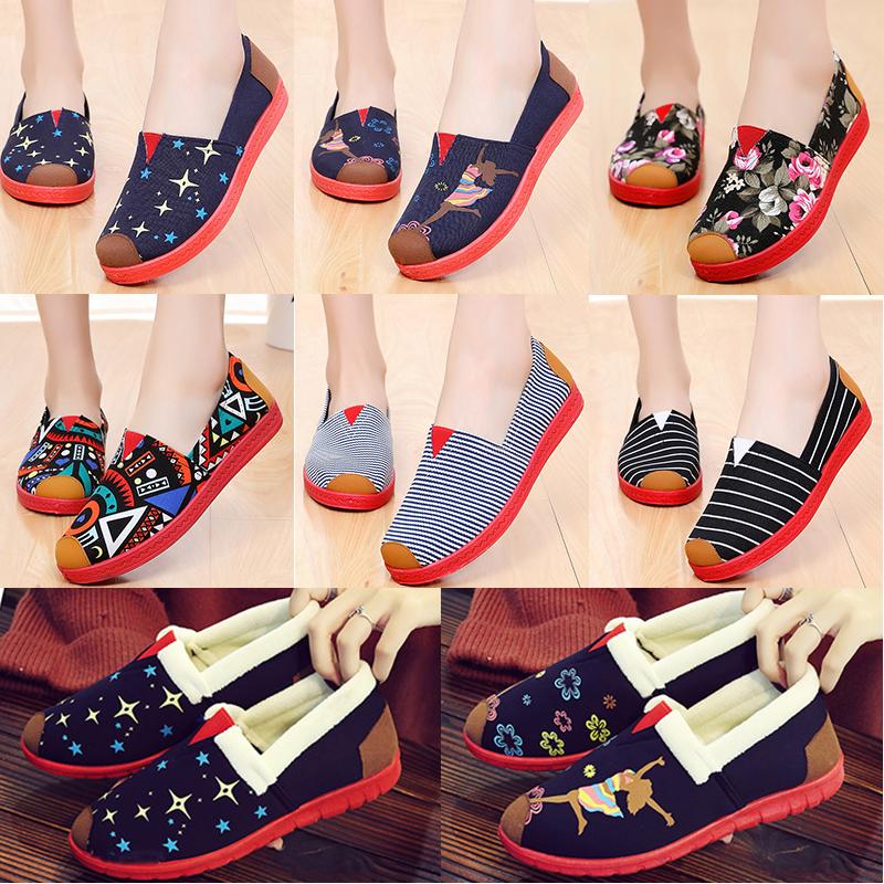 冬季保暖加绒懒人鞋女式帆布鞋女棉鞋防滑平底老北京布鞋女软底鞋