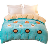 Winter thick single-sided plus velvet flannel quilt double-sided crystal coral milk fluffy quilt cover single piece