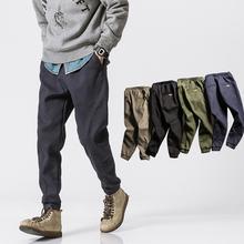 加绒立裁 冬季美式复古工装青少年束脚裤 日系拼接潮男装休闲长裤