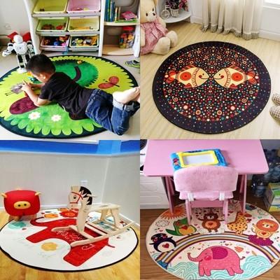 个性圆形地毯卡通儿童卧室床边书房试衣镜地垫电脑椅转椅吊篮帐篷有实体店吗