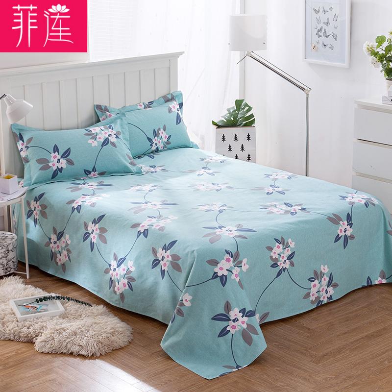 菲莲老粗布床单单件纯棉加厚双人被单1.5米1.8m2.0m床全棉床单