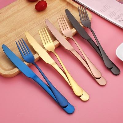 西餐刀叉两件套餐具刀叉勺三件套全套家用不锈钢牛排刀叉盘子套装