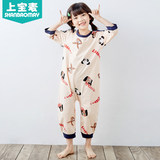 On the bao mai summer new children's jumpsuit short sleeve baby girl anti-cool anti-kick pajama air conditioning