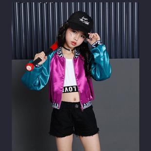 男女童外套夹克短款韩版潮儿童街舞服装春季爵士舞演出服套装夏