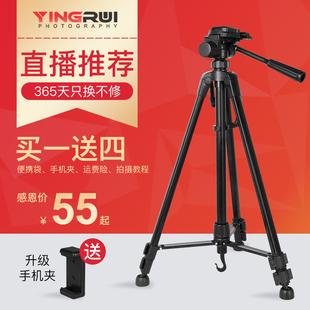 SOMITA摄影单反相机三脚架单反数码 DVfor佳能三维云台便携照相机摄像摄影机手机三角架自拍直播支架角架脚架