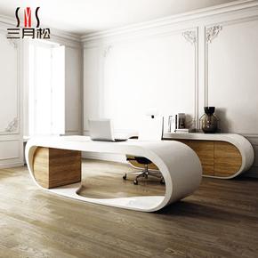 三月松简约现代钢琴烤漆创意书桌弧形办公桌写字台异形电脑桌定制