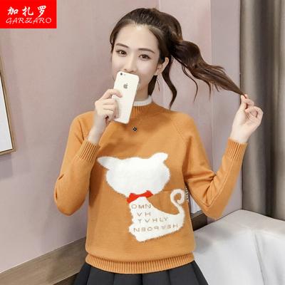 少女秋冬装时尚毛衣2018新款中学生羊毛衫加厚外套韩版套头针织衫