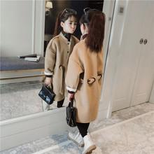 童装女童呢子大衣秋冬2018新款韩版儿童中长款洋气中大童毛呢外套