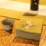 Embroidered flower plum Kung Fu tea coaster Fabric insulation pad absorbent tea ceremony Chinese style Zen Zen Japanese style