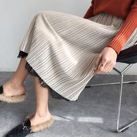 2017秋冬韩版新款正面金丝绒的反面蕾丝正反两穿裙半身裙中长裙女