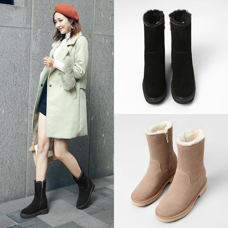 新款圆头磨砂皮保暖羊毛内增高雪地靴毛靴平底中筒靴女靴大码小码